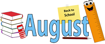 August with back to school sign, ruler, and books